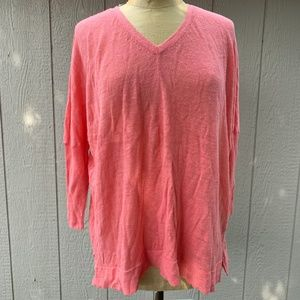 Eileen Fisher Pink Linen Over Sized Sweater